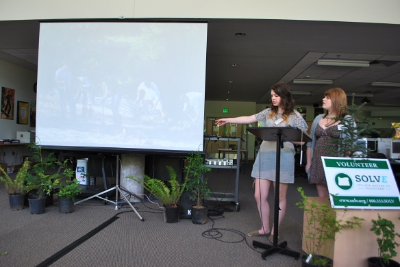 Sam presenting for West Linn HIgh School at the  end of year SOLVE Green Team summit