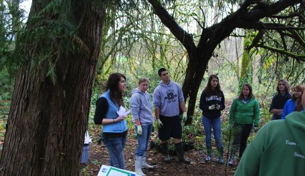 Sam playing a game of Riparian Metaphors with West Linn students