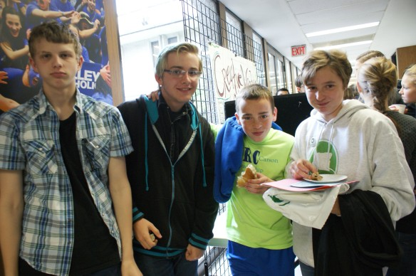 Rachel Carson students, including the SOLVE Student of the Year Peyton (on Left) enjoying the refreshments!