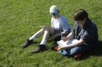 Reflecting on their time at COuncil Creek; about 5 min later, everyone was rolling down the grassy slope at Ryland Park